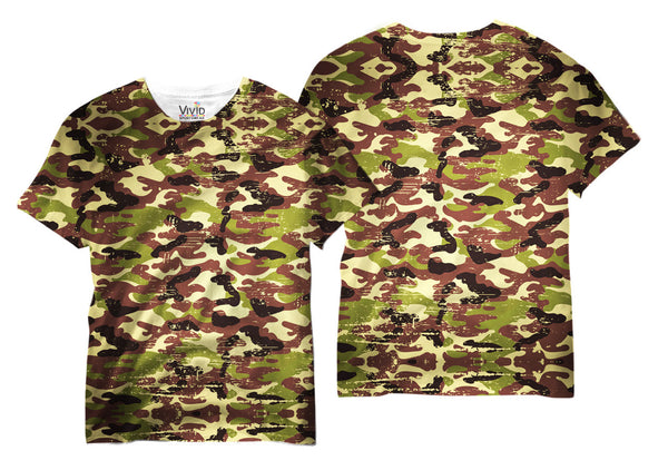 Adults Camo Distressed Sublimation T-Shirt - Vivid Sportswear