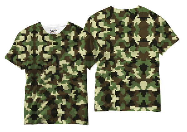 Adults Camo Pixelated Sublimation T-Shirt - Vivid Sportswear