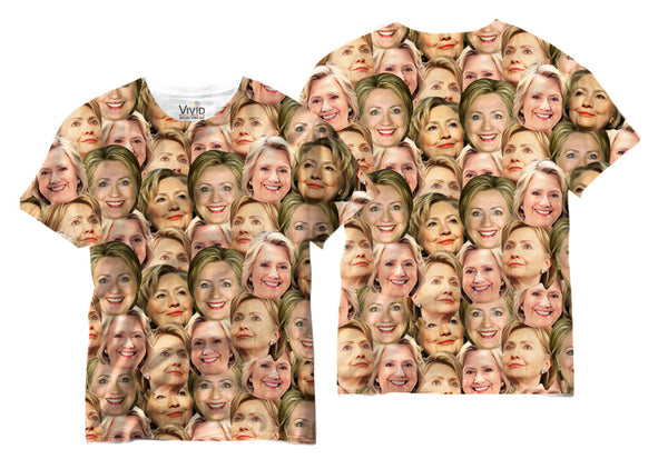 Adults Faces of Hillary Face Sublimation T-Shirt - Vivid Sportswear