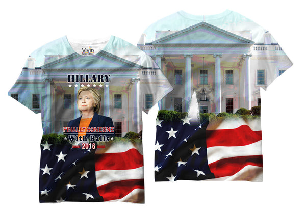 "Adults Hillary ""Someone with Balls"" Novelty Sublimation T-Shirt - Vivid Sportswear"