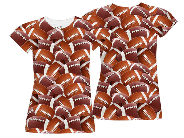 All-Over Football T-Shirt - Vivid Sportswear