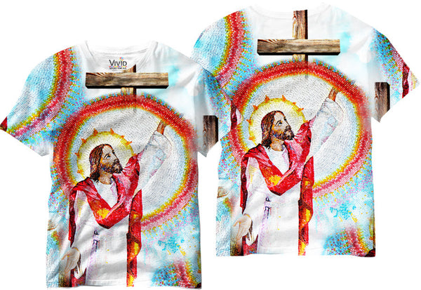 Adults Jesus Christ in Mosaic Design Sublimation T-Shirt - Vivid Sportswear