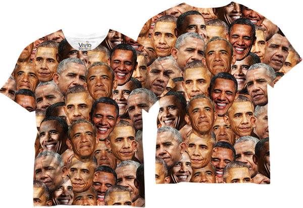 Adults Obama Faces Sublimation T-Shirt - Vivid Sportswear