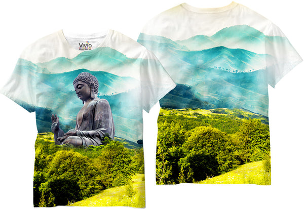 Adults Buddah Statue in the Valley Sublimation T-Shirt - Vivid Sportswear