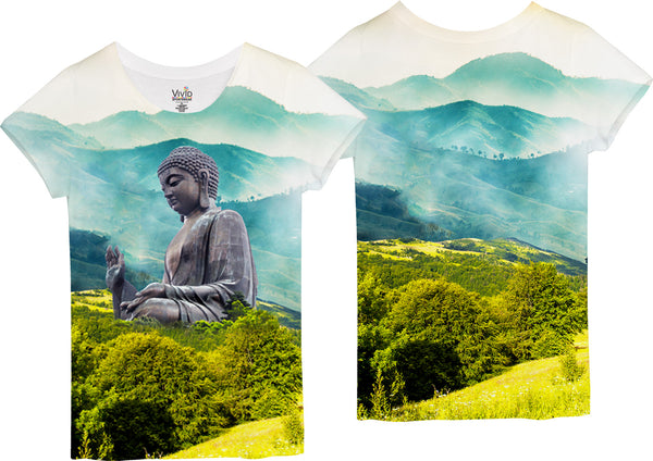 Buddah Statue in the Valley Sublimation T-Shirt - Vivid Sportswear