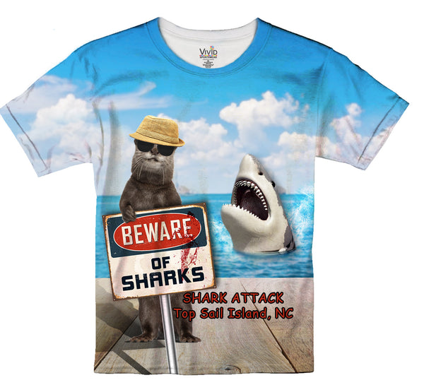 Kids Beware of Shark Sublimation T-Shirt - Vivid Sportswear