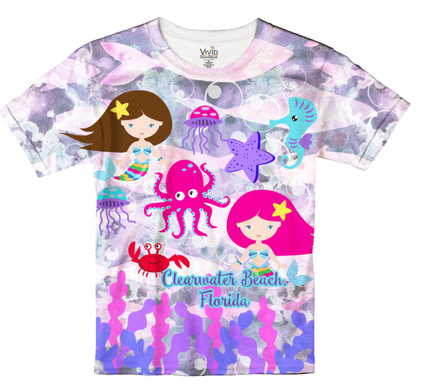 Kids Mermaid Sublimation Tie-Dye T-Shirt - Vivid Sportswear