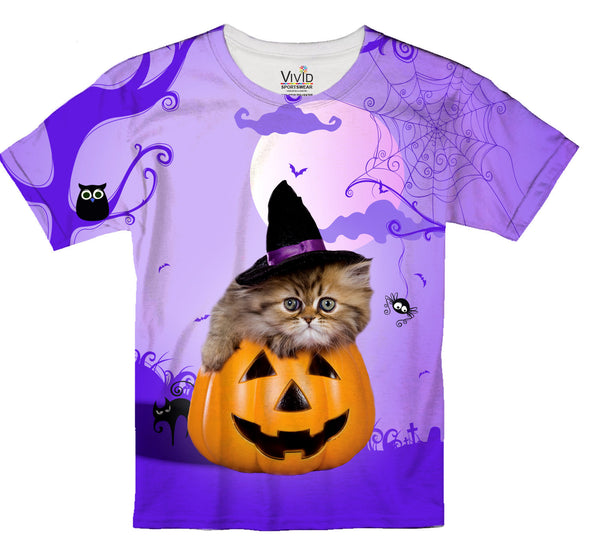 Cute Kitten Witch Sublimatin T-Shirt - Vivid Sportswear