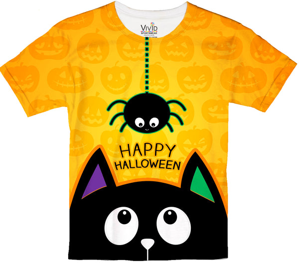 Black Cat and Spider Friends Sublimatin T-Shirt - Vivid Sportswear