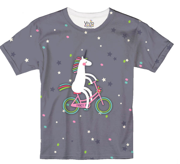 Kids Unicorn Riding a Bike T-Shirt - Vivid Sportswear