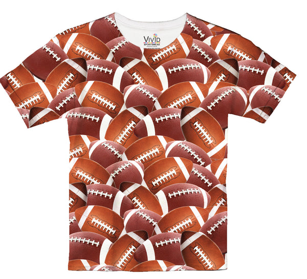 All Over Football T-Shirt - Vivid Sportswear