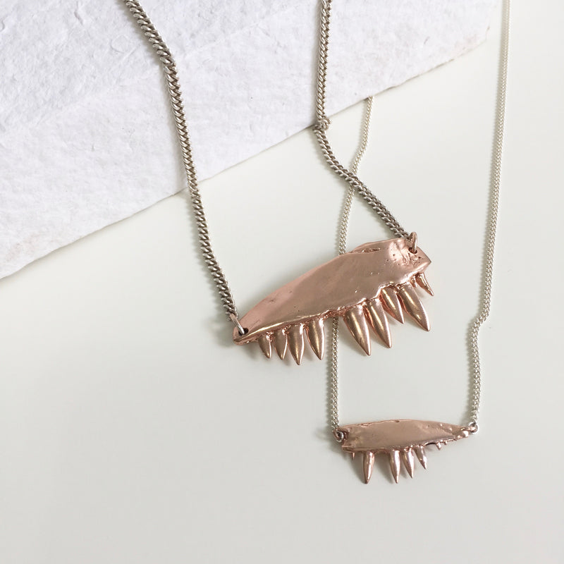 MICRO JAW PENDANT NECKLACE, ROSE GOLD, SILVER