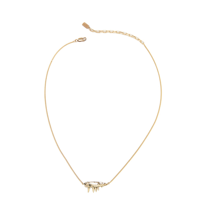 MICRO JAW PENDANT NECKLACE, GOLD-TONE