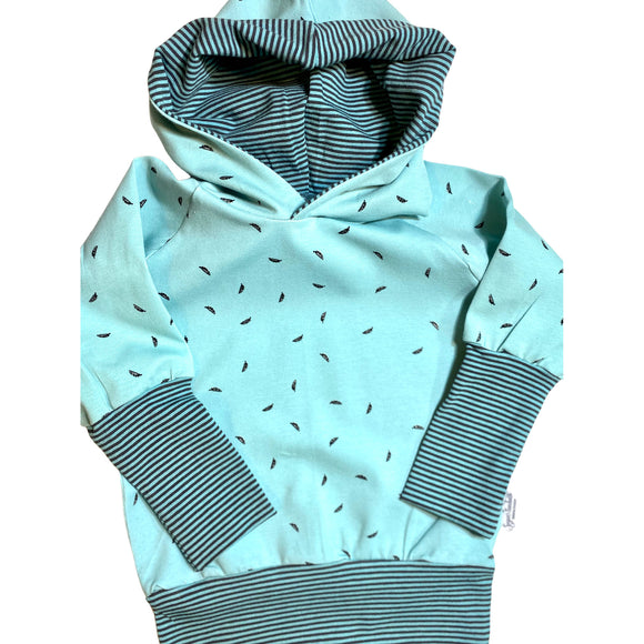 Mint Solids and Stripes Grow Along  Babywear® Hoodie Sweater Organic Cotton