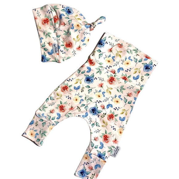 Pink Floral Set of Harem Grow Along® Pants & Top Knot Hat Organic Cotton - Sugar Sandwich Design