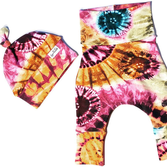 Pink and Rust Colours Tie Dye Style Harem Grow Along® Pants & Top Knot Hat Organic Cotton - Sugar Sandwich Design