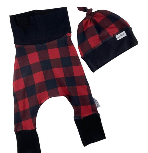 Red Check Buffalo Plaid Set of Harem Grow Along® Pants & Top Knot Hat Cotton - Sugar Sandwich Design