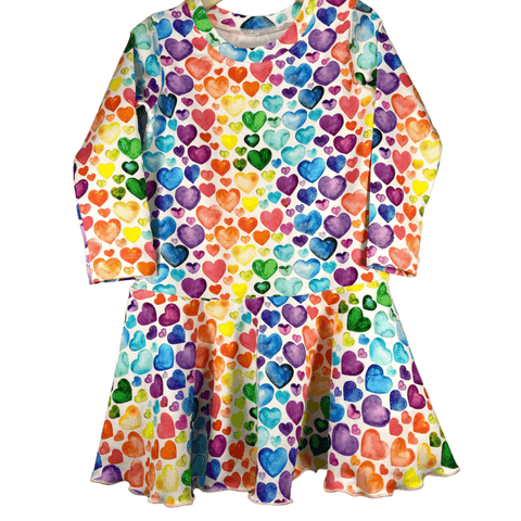 Valentine Rainbow Hearts Peplum Twirl Tunic Top Stretch Knit Dress - Sugar Sandwich Design