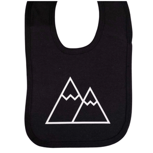Black Cotton Bib with Triangle Mountain Imprint