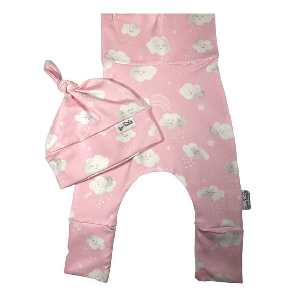 Pink Cloud Harem Set Grow Along® Pants & Top Knot Hat Organic Cotton