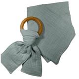 Sage Green Matched Set Double Gauze Square Bandanna Bib and Teether Toy