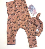 Pink Geometric Bears Harem Grow Along® Pants & Top Knot Hat Organic Cotton - Sugar Sandwich Design