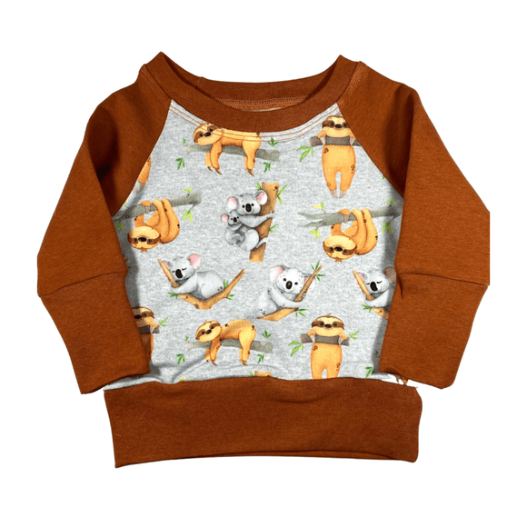 Terracotta Sloth and Koala Print Crew Neck Long Sleeve Sweatshirt Top