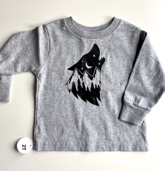 Wolf Print West Coast Toddler Tee - Sugar Sandwich Design