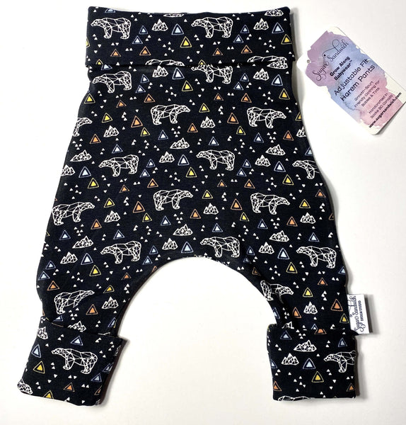 Black Geometric Bear Harem Grow Along® Pants & Top Knot Hat Organic Cotton - Sugar Sandwich Design