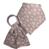Mauve Rainbow Matched Set Double Gauze Square Bandanna Bib and Teether Toy