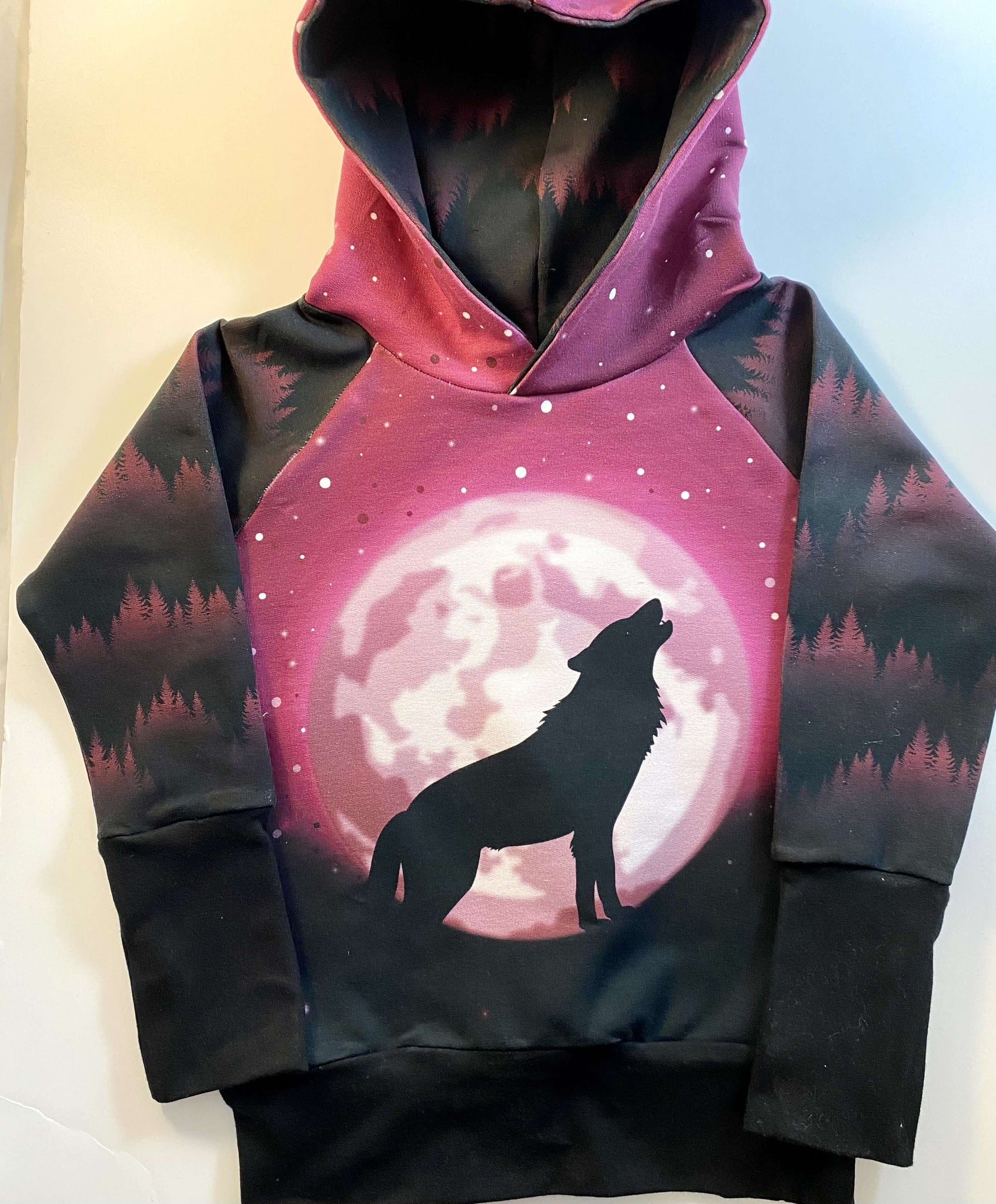 BIG KID SIZES Berry WOLF MOON Sweater Grow Along®Organic Cotton French Terry - Sugar Sandwich Design