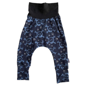 Dark Blue Skulls TODDLER Harem Grow Along® Pants