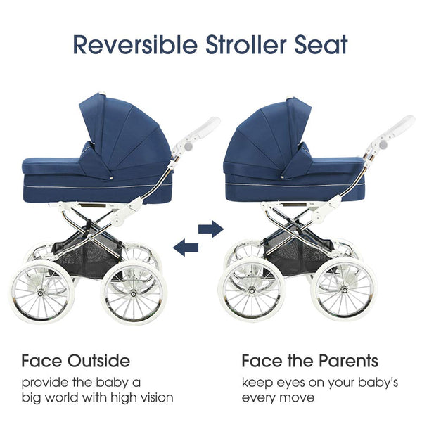 Stroller Bassinet Carriage Combo, 2-in-1 Baby Strollers Newborn to Toddler Shock-Resistant Foldable Pram Carriage with 5-Point Harness, Including Bassinet Cover, Foot Cover, Diaper Bag
