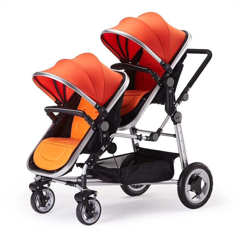 Twins Baby Stroller With Two Bassinets And Car Seats Foldable Travel System