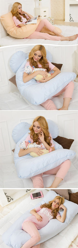 Large Cotton U Shape Pillow For Pregnant women Pregnancy Pillow U-shape Waist Belly Support Protecting For Sleep And Nursing