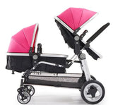 Luxury Leather Double Twin Stroller With Convertible Bassinet For Infant And Toddler