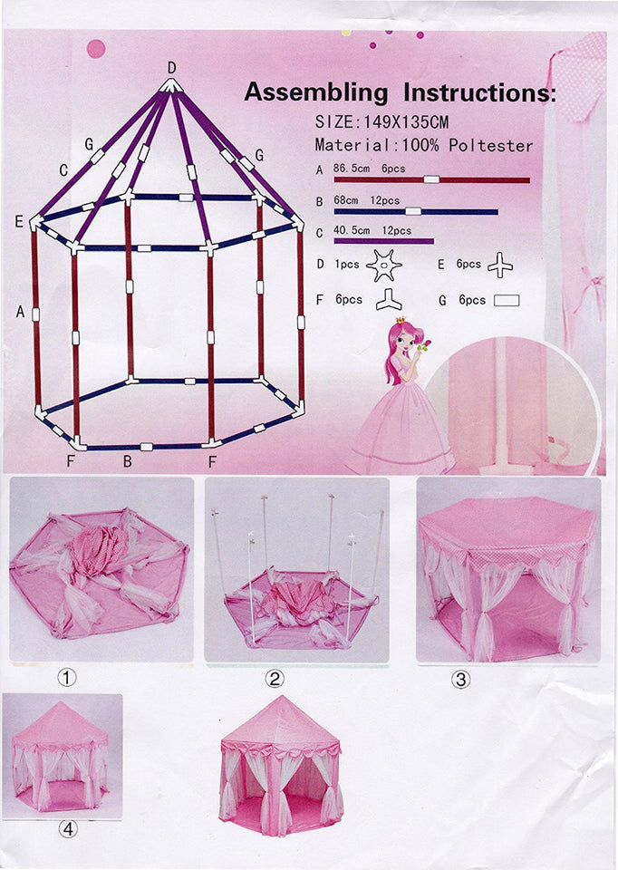 Large Indoor and Outdoor Kids Play House Pink Hexagon Princess Castle Tent Child
