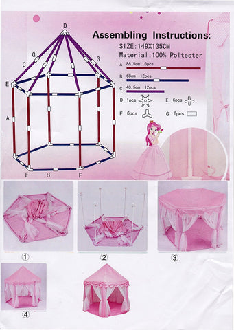 Large Indoor and Outdoor Kids Play House Pink Hexagon Princess Castle Tent Child  sc 1 st  TAY Online Store & Large Indoor and Outdoor Kids Play House Pink Hexagon Princess ...