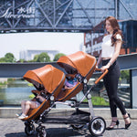 Semaco Brand Luxury Leather Double Twin Stroller With Convertible Bassinet For Infant And Toddler
