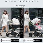Luxury Leather Stroller 2 in 1 AULON Brand With Bassinet Convertible 2018 Upgraded Design Combo Travel System - Pink Color