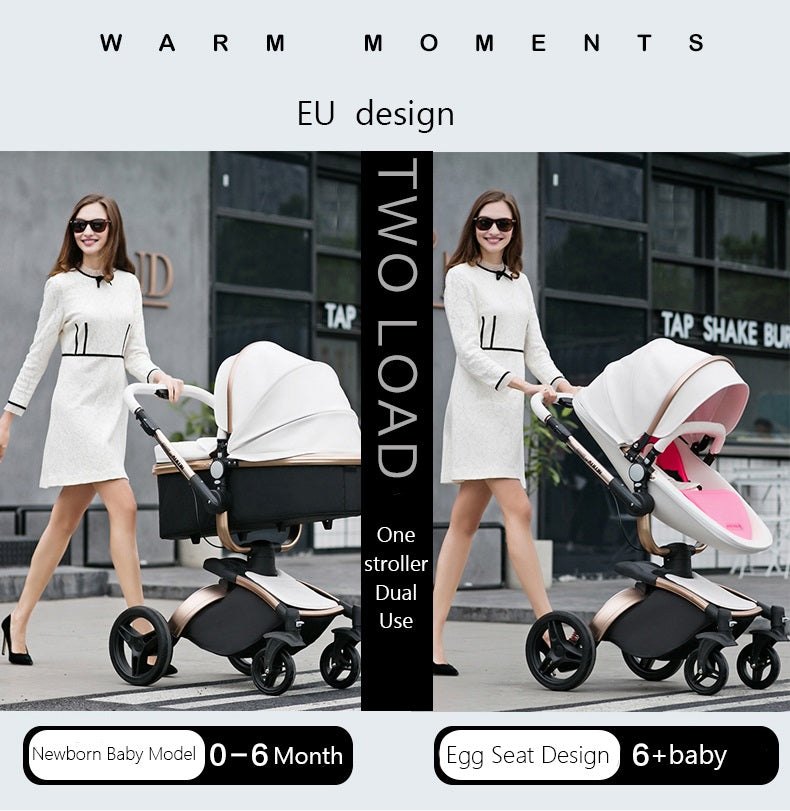 Luxury Leather Stroller 2 in 1 AULON Brand With Bassinet Convertible 2018 Upgraded Design Combo Travel System - Black Color