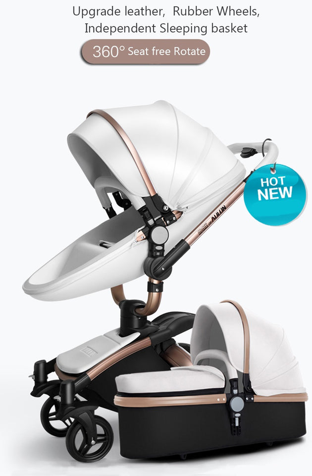 Luxury Leather Stroller 2 in 1 AULON Brand With Bassinet Convertible 2018 Upgraded Design Combo Travel System - White And Black Color