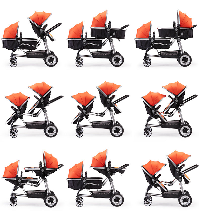 Semaco Brand Twins Baby Stroller With Two Bassinets And Two Car Seats Foldable Travel System