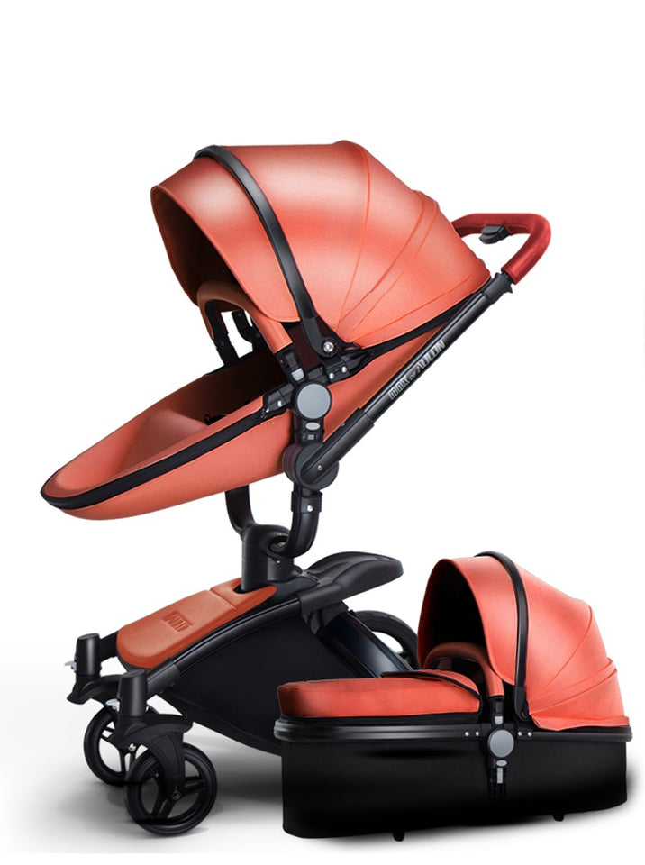 Luxury Leather Stroller 2 In 1 Aulon Brand With Bassinet