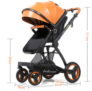 Belecoo Brand Luxury Leather Baby Stroller High-landscape Baby Carriage Pram