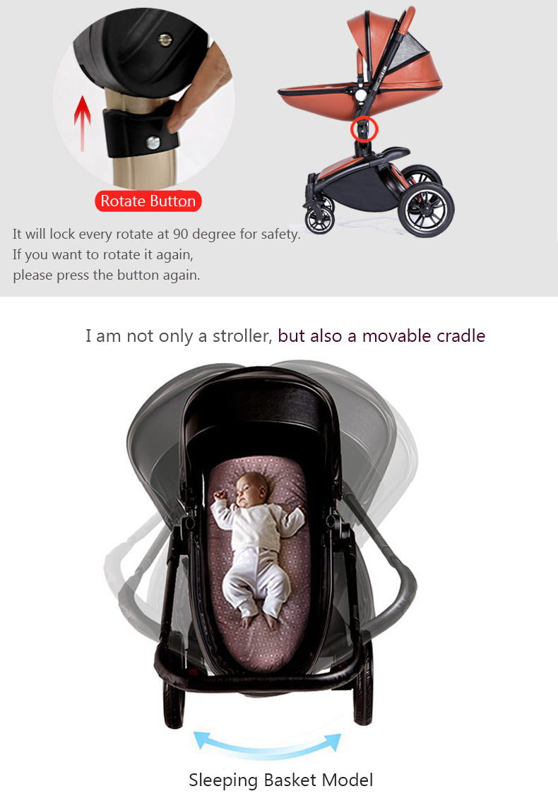 2019 Design Luxury Leather Max Of Aulon Brand Baby Stroller 2 in 1 With Bassinet High Landscape Baby Carriage