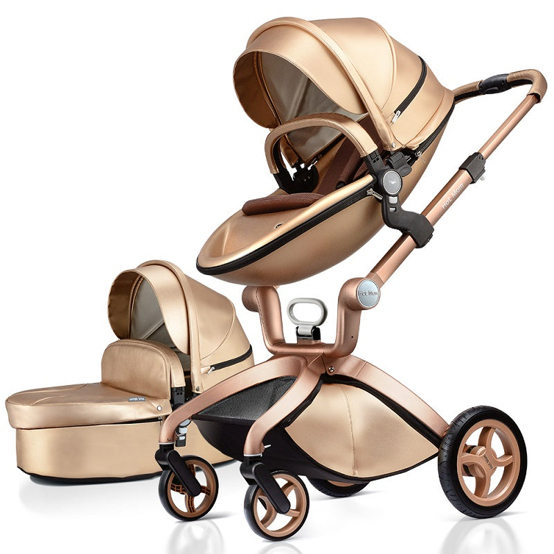Hot Mom Luxury Gold Color Baby Stroller High Landscape and Fashion Pram Baby Carriage