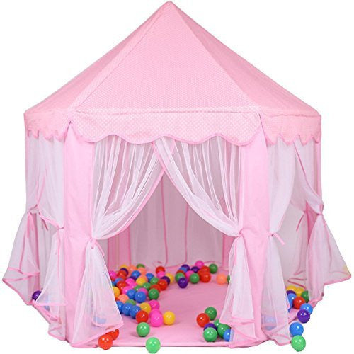 PortableFun Hexagon Indoor Princess Castle Play Tent, 55-Inch Dia x 53-Inch Height