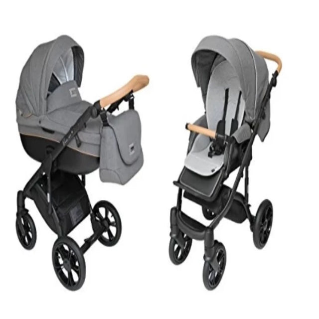 Carriage 2-in-1 with Bassinet for Baby, Toddler's Five Point Safety Reversible Seat, Swivel Air-Inflated Wheels
