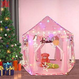 Kids Princess Castle Play House Tent With 100 LED Lights USB Powered For Outdoor & Indoor